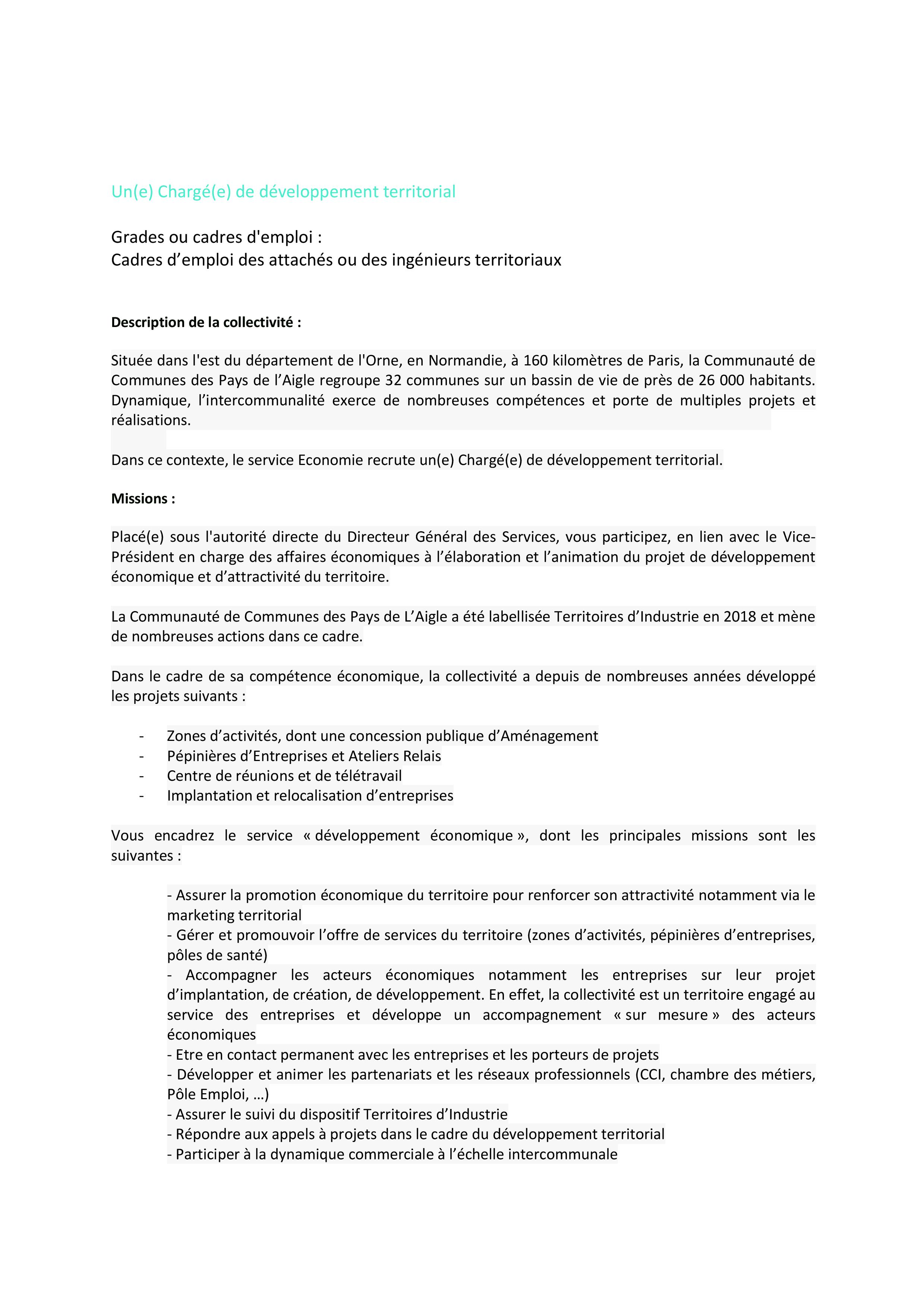 ANNONCE chargee developpement territorial poste LANGLOIS page 001
