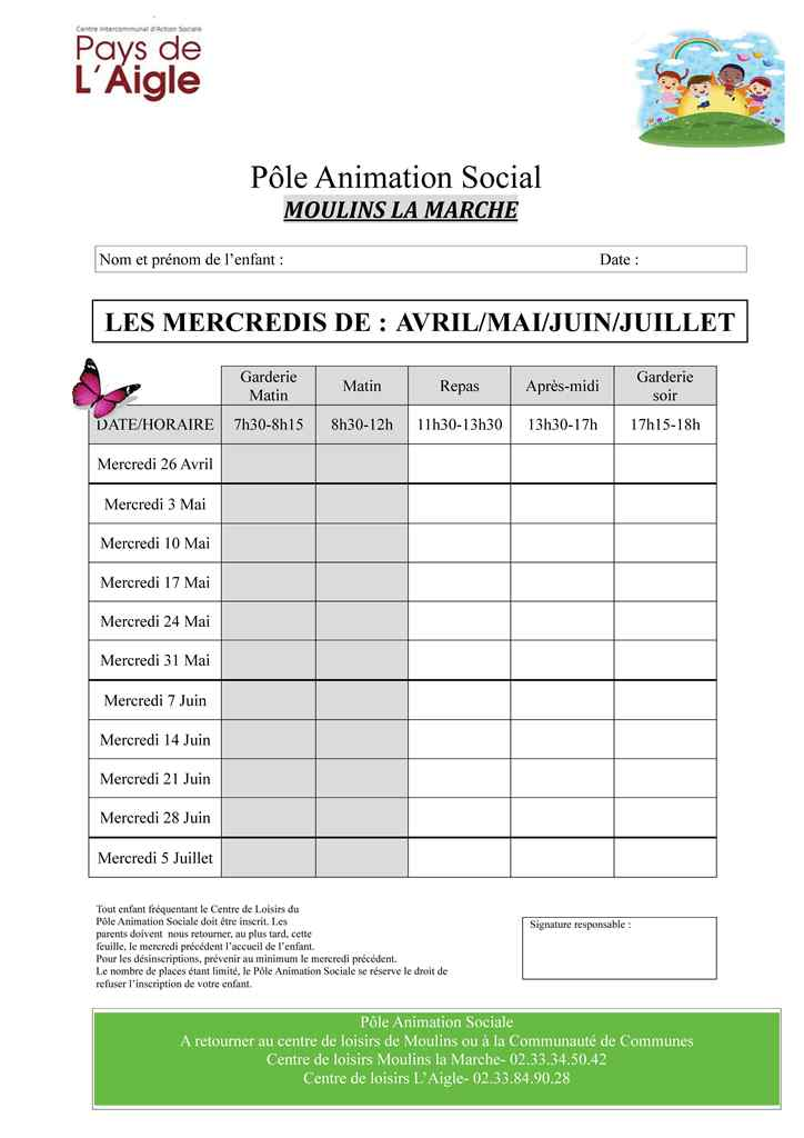 Fiches dinscription Avril Mai 2017 MOULINS